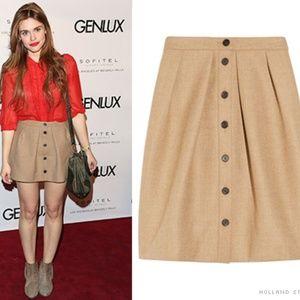 J Crew Tan Button Up 100% Wool Short A Line Skirt